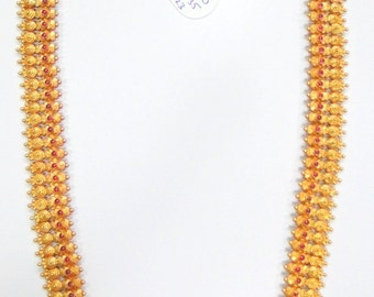 Vintage handmade solid 22k Gold jewelry ruby Necklace from South India long size