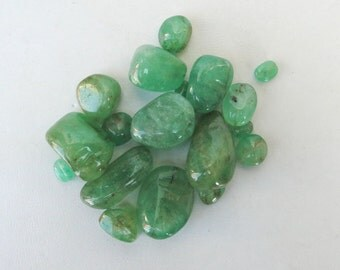 Vintage unshape natural Emerald beads lot.