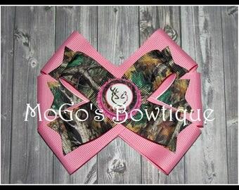 Camo Deer Love Hair Bow