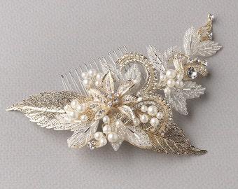 Gold Bridal Comb, Gold Bridal Accessories, Floral Wedding Comb, Gold Floral Bridal Comb, Rhinestone & Pearl Wedding Comb ~TC-2220-G