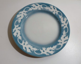 "1 Syracuse China Oakleigh 9.5"" Dinner Plate Blue Leaf Airbrush Restaurant Ware Dishes 4-DD 1949 Oak Leaf Vintage Plate"