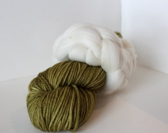 Thrummed SLIPPER SOCK kit - Olive/Natural cream- Hand dyed Merino yarn and roving Pattern included