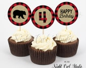 Lumberjack Cupcake Toppers, Buffalo Plaid, Wilderness, Rustic, Flannel, Printable
