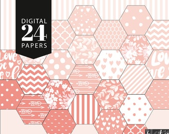 24 BASIC peach pink, white and salmon digital papers. Floral with leaves, polka dot, striped, arrow, heart patterns.