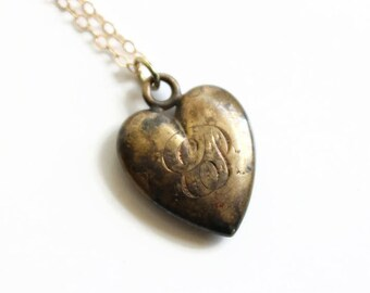 Antique Gold Heart Locket Necklace, Gold Filled Slide Locket, Victorian Era, Circa 1891