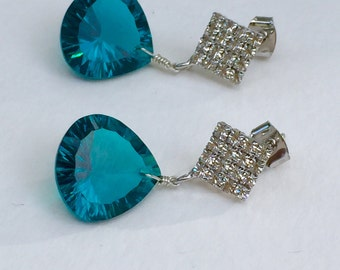 Teal Blue Quartz and CZ Earrings by KarenWhalenDesigns