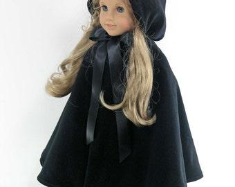Handmade 18 inch Clothes for American Girl - Black Velveteen Doll Cloak, Cape