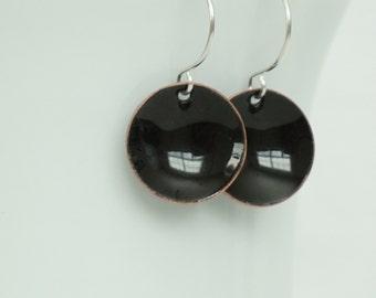 Black Enamel Earrings - Enamel Jewelry, Minimalist Jewelry, Minimalist Earrings, Simple Earrings, Dot Earrings, Boho Jewelry Earrings