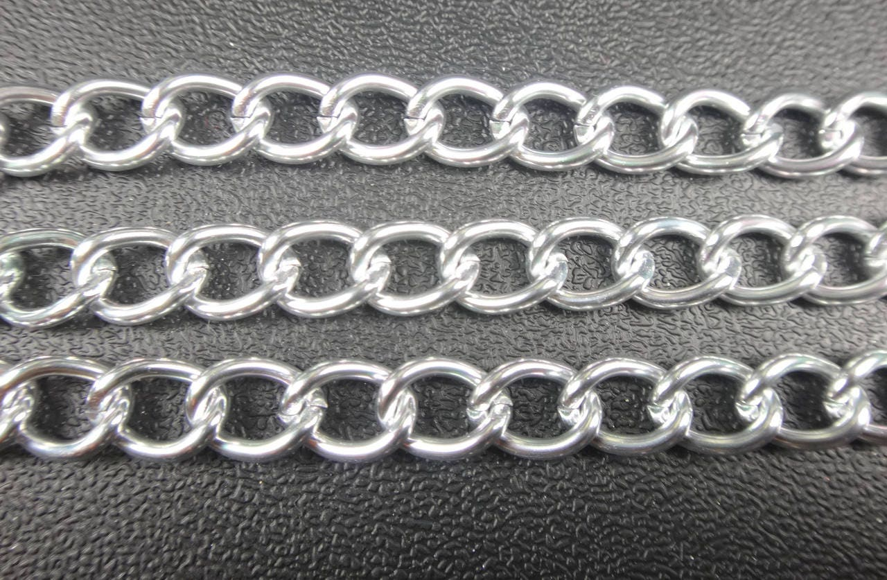 Aluminum silver curb chain 12x9mm non tarnish jewelry for Craft chain by the foot