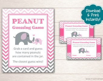 Printable Elephant Baby Shower Guessing Game Set - Pink and Gray Shower Package - Little Peanut Baby Shower Games - Instant Download - BS52