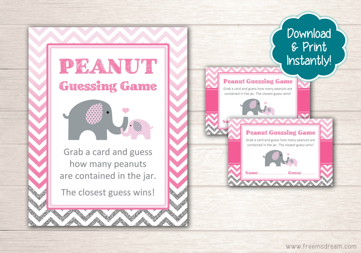 printable elephant baby shower guessing set pink and
