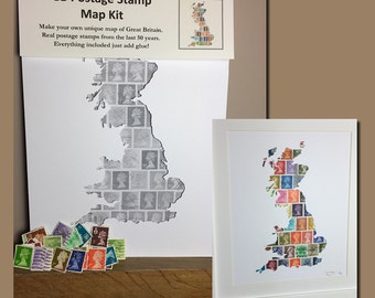 Great Britain Map Postage Stamp Art Kit