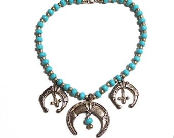 Vintage Silver Turquoise Necklace Native American Navajo Indian Naja Southwest Faux Statement Jewelry Big Large Size
