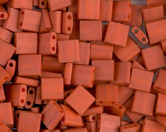 Matte Opaque Terra Cotta Miyuki Tila Two Hole Beads - 3751 - 8 grams - Matte Opaque Terra Cotta Tila Beads
