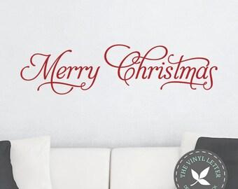 Merry Christmas Fancy Wall Vinyl Decal Home Decor Sticker