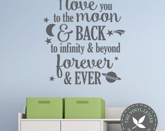 I Love You Moon and Back Infinity and Beyond Forever Vinyl Sign Wall Home Decor Decal Sticker