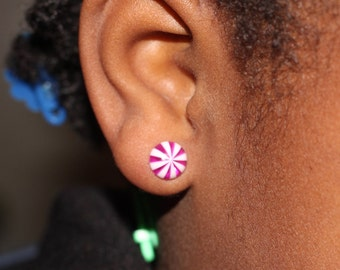 Peppermint Stud Earrings, Candy Earrings, Titanium Hypoallergenic Earrings