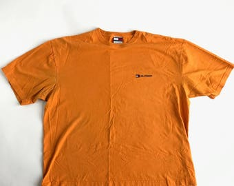 Vintage TOMMY HILFIGER Tshirt Mens XXL Orange 90's