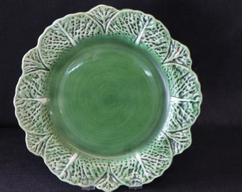 vintage green majolica pottery decorative underplate leaves