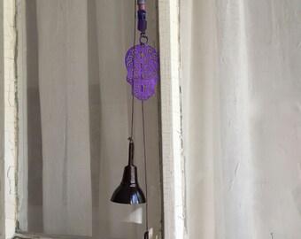 Skull Bell, Purple Skull, Garden Bells, Folk Art, String of Bells, Hanging Bells, Porch Chimes, Door Bell, Beaded String with Violet Skull