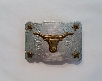 Vintage Western Style Nickel Silver Belt Buckle with Brass Tone Longhorn Steer and Texas Star Hippie Boho Rodeo Belt Buckle