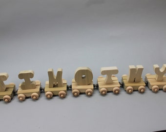 7 letter handcrafted, personalized wood child's name train