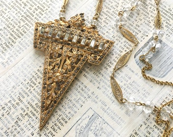 Art Deco Upcycled Rhinestone Necklace - Vintage Dress Clip Brass Wire Wrapped