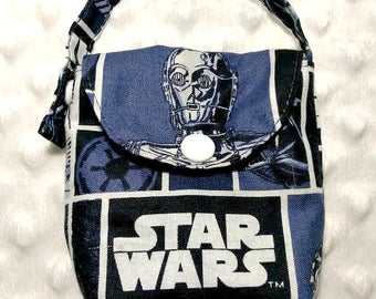 Pacifier Pouch in Blue Star Wars fabric, Paci Pouch, Pacifier Holder,