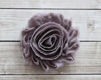 Greige shabby chic rosette hair clip gray beige frayed chiffon flower clip