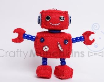 Cute Red Plush Felt Robot