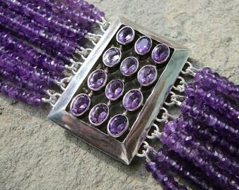 Amethyst Bracelet, Amethyst Jewelry,Repurposed Amethyst Brooch Bracelet, Mid Century Modern, Multi Strand Bracelet, Multistrand Bracelet