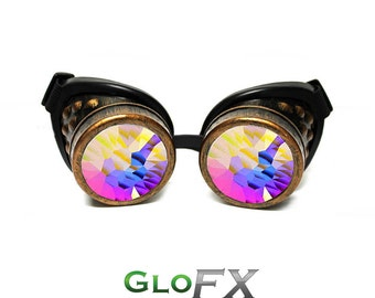 Steampunk Goggles - GloFX Copper Padded Kaleidoscope Goggles Real Crystal Glass Lenses Gothic Cyber Goggles Rave Steampunk Burning