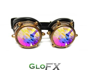GloFX Copper Bolt Padded Steampunk Kaleidoscope Goggles With Rubber Pads Adult Costume Copper Gothic Cosplay Dieselpunk Rave Goggles