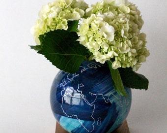 globe vase, blue vase, ceramic wood vase, Ceramic Vase, Flower Vase, Bud Vase, Modern, Hostess Gift, Wedding Gift, small vase