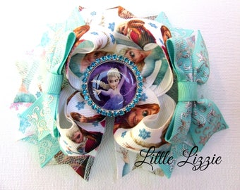 Princess boutique bow, Aqua and white, Boutique bow, Hair bow clip