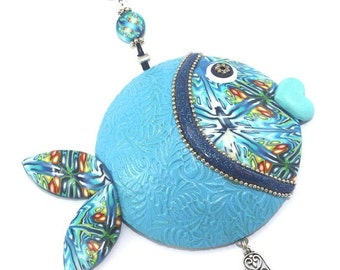 SALE 20% OFF - Wall decor fish of fortune ,lucky fish, Polymer clay handmade fish in blue, turquoise, green, white and silver