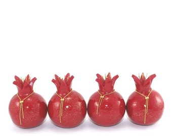 SALE 20% OFF - Rosh hashanah gift, table decoration, red pomegranates home decor, prosperity symbol, 4 Polymer clay Pomegranates in red and
