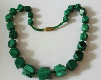 Vintage Hand Carved Octagonal Chunky Bead Malachite Necklace 17 Inches