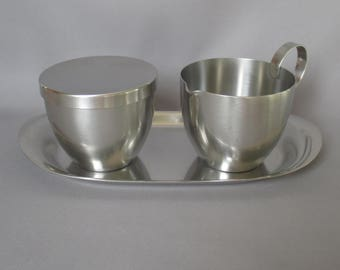 wmf cromargan germany coffee set Covered Sugar w/Creamer and Tray eames era danish modern stainless steel FABULOUS hard to find