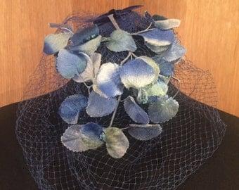 1930s floral fascinator hat blue velvet petals