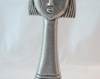 Female head sculpture, log neck, cropped hair sculpture of Greek lady, Greek folk art, aluminum sculpture, vintage Greek sculpture