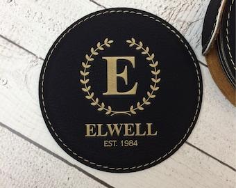 Engraved Coaster Set with holder, Custom Laser Engraved Coasters, Round Coaster Set, Wedding Gift, Anniversary Gift, Housewarming Gift