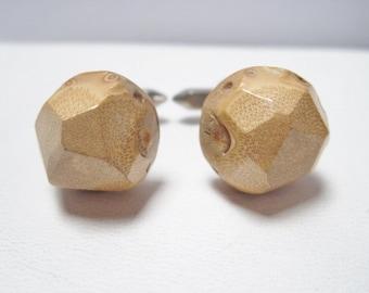 Unusual Mid-Century Cufflinks Faceted Wood Tops