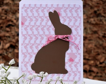 Chocolate Easter Bunny Card Handmade Card with Friend Sentiment (Chocolate Lovers Card)