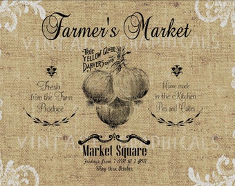 Farmers Market instant graphic art Onions digital download Image for iron on transfer burlap decoupage pillow card Scrapbooking No gt123