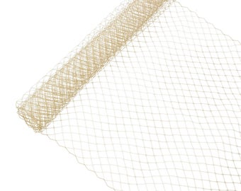 """1 Yard x 10"""" Tan Russian Millinery Birdcage Veil Netting - Available in 15 Colors"""
