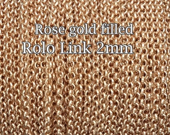 Rose Gold Filled chain, wholesale Rolo chain link 2mm, choose 1 3 5 10 20 30 50Feet 25%Discount price quantity, rose gold fill chain Rolo