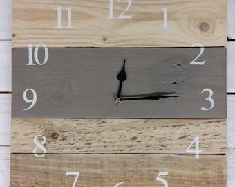 Wooden Clock - Large Wall Clock - Rustic Clock - Palletwood Clock - Farmhouse Clock - Reclaimed Wood Clock - French Linen Chalkpaint
