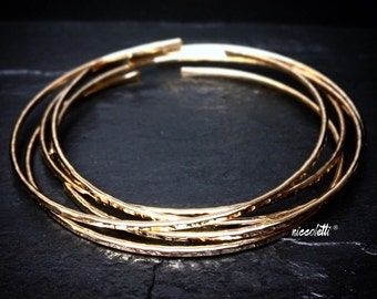 14k Gold Filled Bangles Set / Hammered Silver or Gold Stacking Bangles / Rose Gold Textured Bangle Bracelets / Minimalist Jewelry Gifts