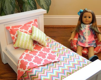 American Doll 18 Inch 4 Piece Bedding Set - Reversible Chevron/Geometric Coral w/Lime Turquoise Coverlet-Sham- 2 Throw Pillows w/wo Beanbag